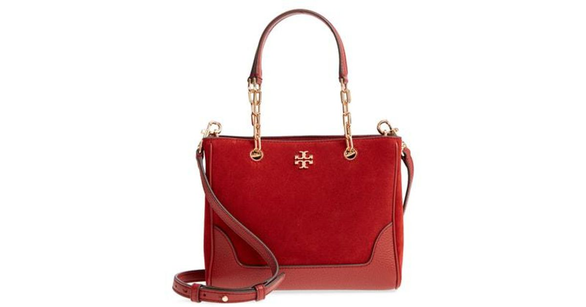 f11d88b2164 Lyst - Tory Burch Small Marsden Suede   Leather Tote in Red