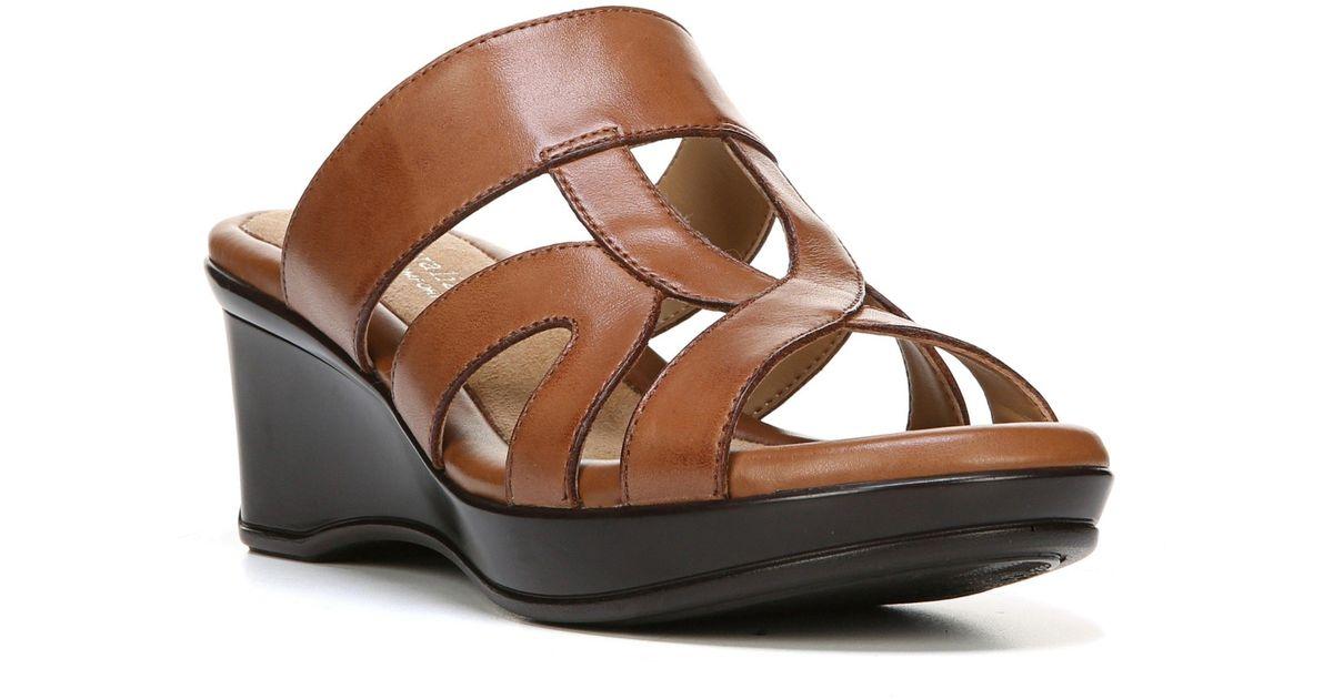 34e952f02705 Lyst - Naturalizer Vanity Wedge Sandal in Brown