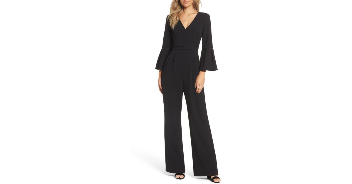 1865fb84a4e Lyst - Eliza J Bell Sleeve Wide Leg Jumpsuit (regular   Petite) in Black -  Save 34%