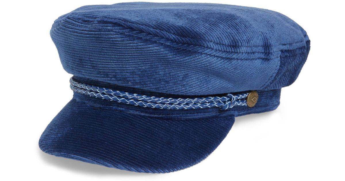 070dbfcdfe6de Lyst - Brixton Fiddler Corduroy Baker Boy Cap in Blue