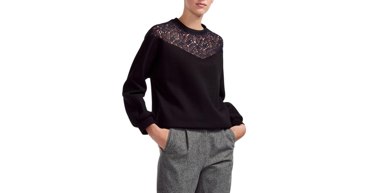 c0f837ca3e Lyst - Maje Tepina Lace Sweatshirt in Black