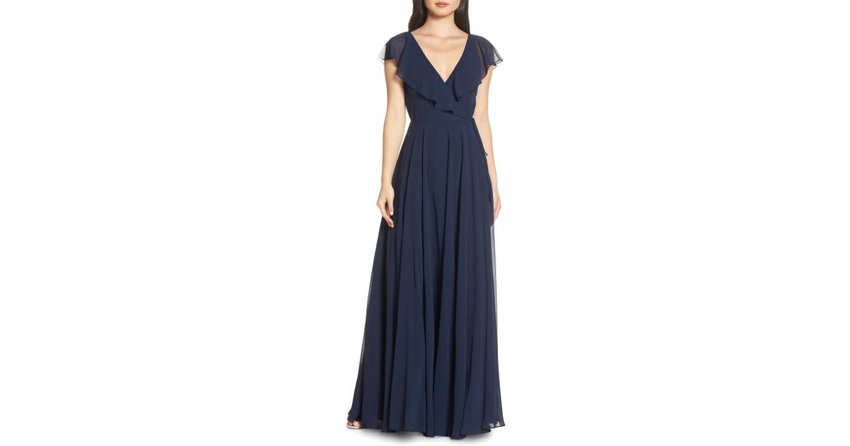 c2ee98b35969 Jenny Yoo Faye Ruffle Wrap Chiffon Evening Dress in Blue - Lyst