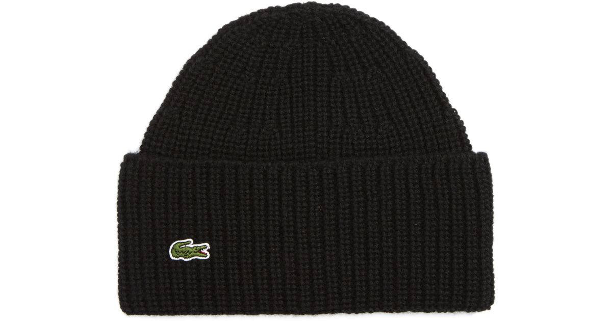 Lyst - Lacoste Turned Edge Ribbed Wool Beanie in Black for Men 87ad9e08e85