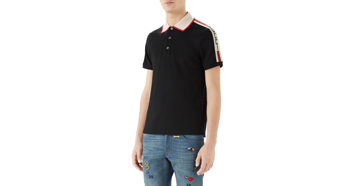 3db04c0a5de9c0 Lyst - Gucci Jacquard Stripe Sleeve Pique Polo in Black for Men