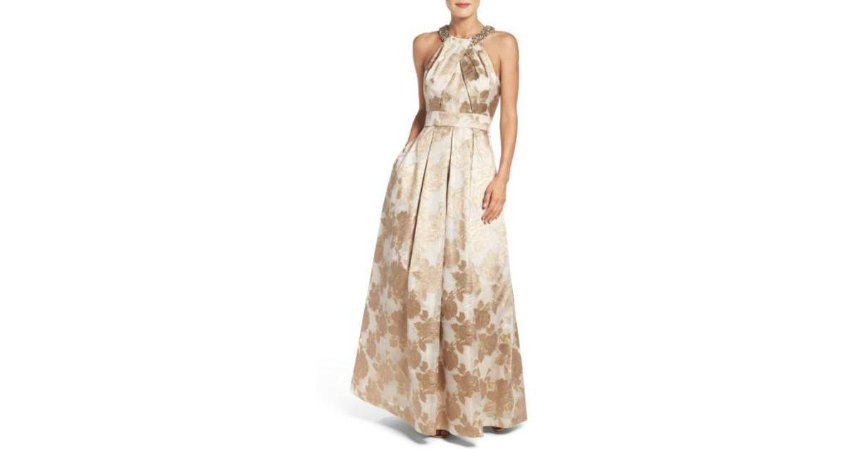 Lyst - Eliza J Embellished Floral Jacquard Fit & Flare Gown