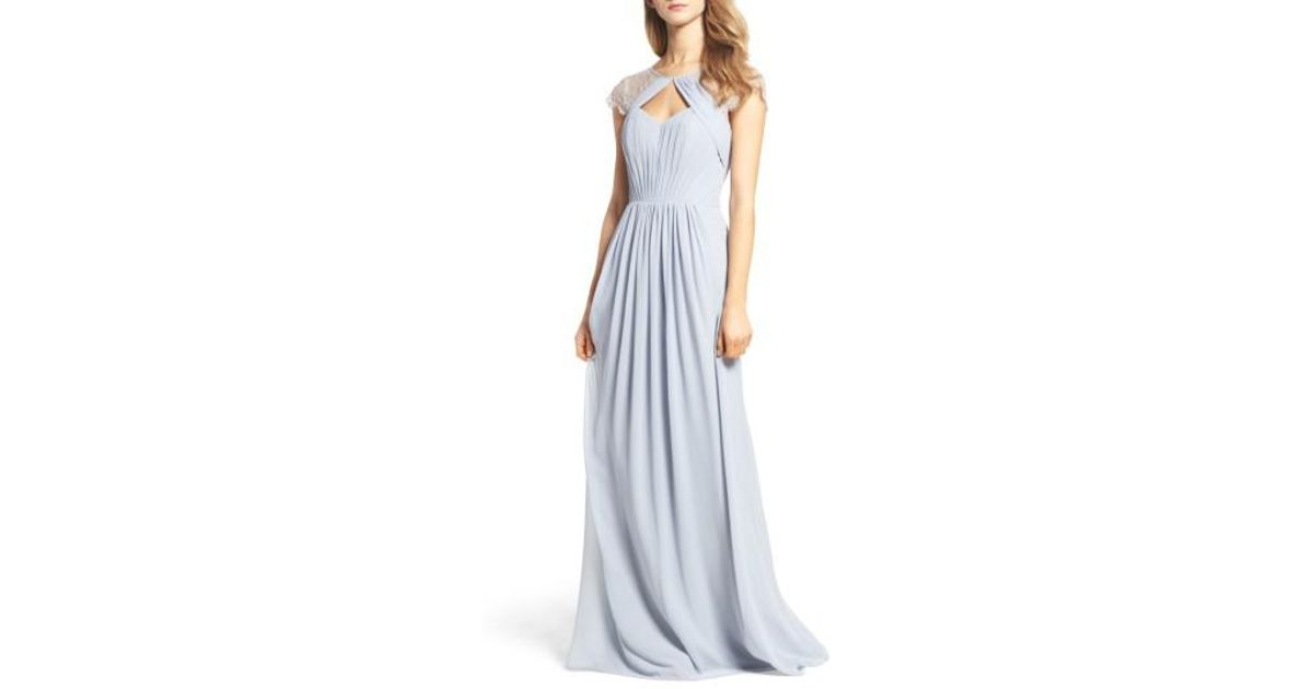 028302bf952d Hayley Paige Occasions Cap Sleeve Lace & Chiffon Gown in Blue - Lyst