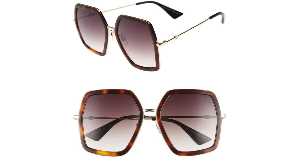 4264d58d6f7ac Lyst - Gucci 56mm Sunglasses - Havana  Brown in Brown