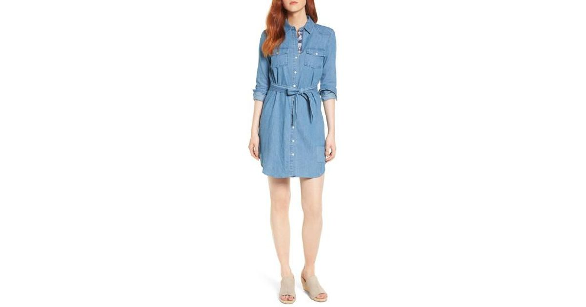 40b2cd5f Draper James Casual Belted Chambray Shirtdress in Blue - Lyst