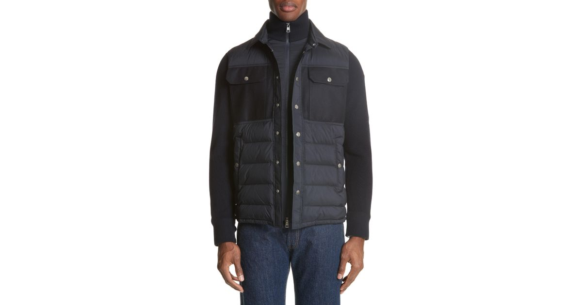 97b17488f Moncler - Black Maglione Two-tone Down Jacket for Men - Lyst