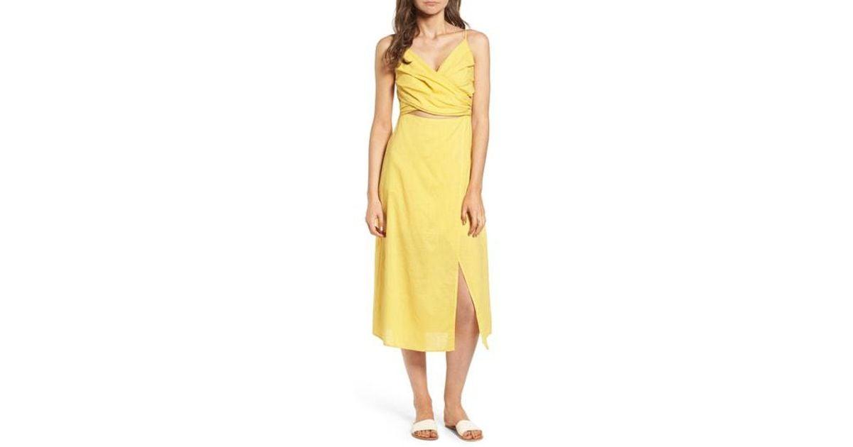 b5122ba950 Lyst - Nordstrom Cutout Midi Dress in Yellow