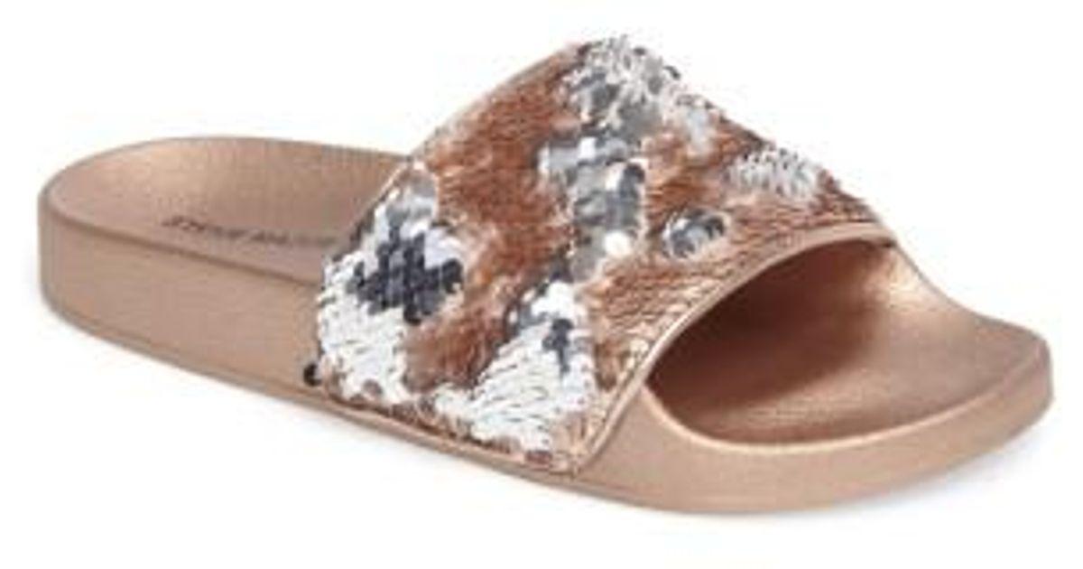64ae9a14a23 Lyst - Steve Madden Softey Sequin Slide Sandal