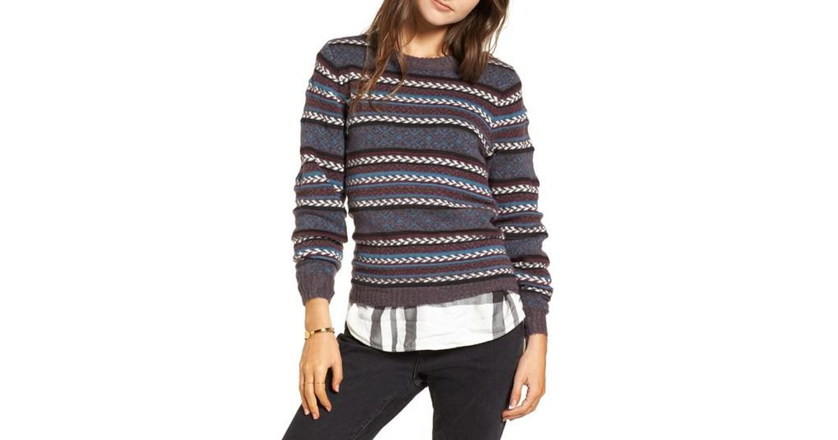 Treasure & bond Fair Isle Stripe Sweater in Blue | Lyst