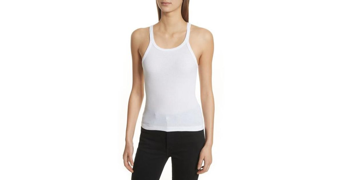 2ce2470fd3904e Lyst - RE DONE Ribbed Tank Top in White