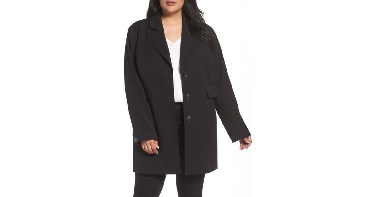 e08663d4ea9 Lyst - Kenneth Cole Single Breasted Ponte Coat in Black