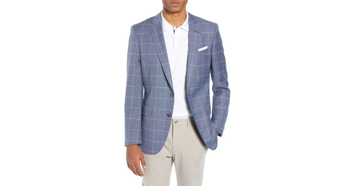 011e88fb7 Lyst - BOSS Hugo Hutsons Trim Fit Windowpane Wool Sport Coat in Blue for Men