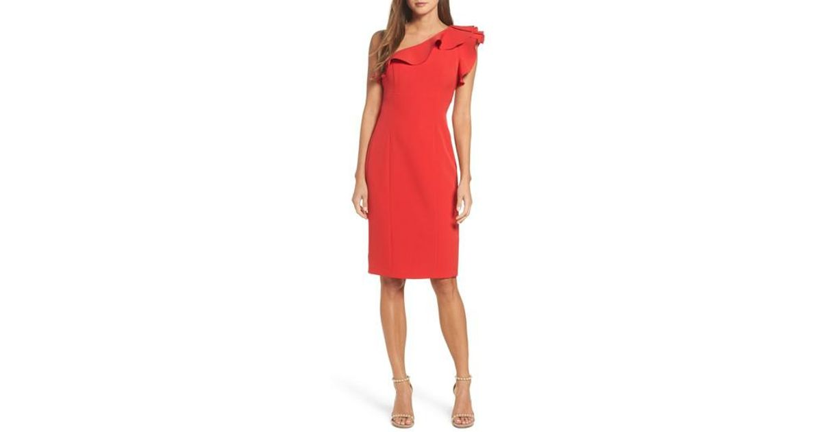 39f8a1c5 Lyst - Eliza J Ruffle One-shoulder Dress in Red