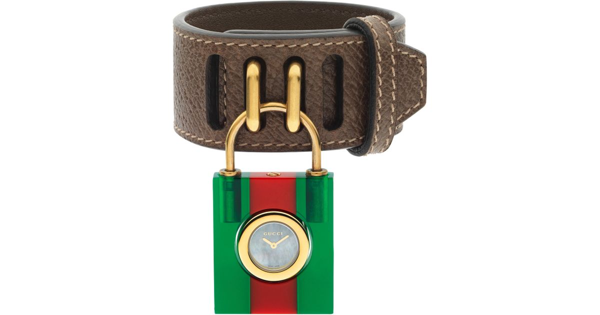 1281c76bd6e Lyst - Gucci Twirl Small Leather Strap Padlock Watch in Green