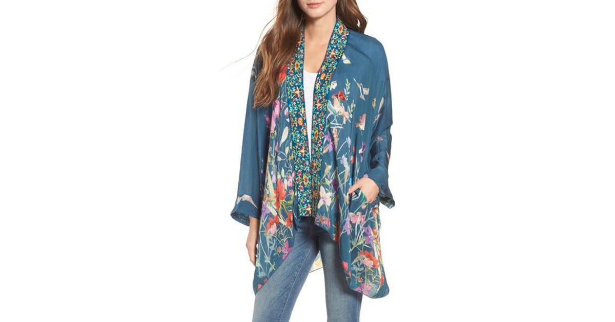 e9ad84e5569a2c Johnny Was Summer Paisley Silk Kimono in Blue - Lyst