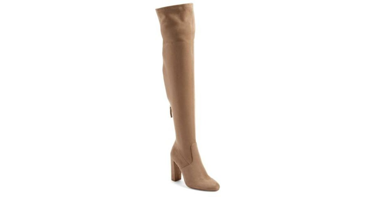 1204db791f8 Lyst - Steve Madden  emotions  Stretch Over The Knee Boot in Brown