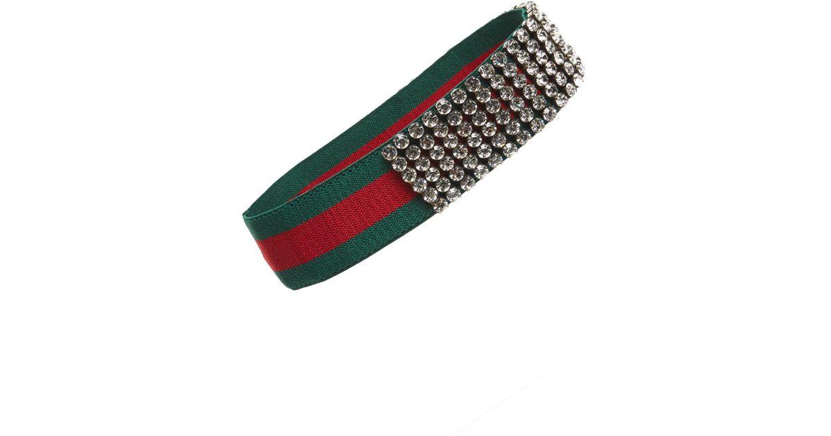 2d654326847 Lyst - Gucci Webby Crystal Headband in Green