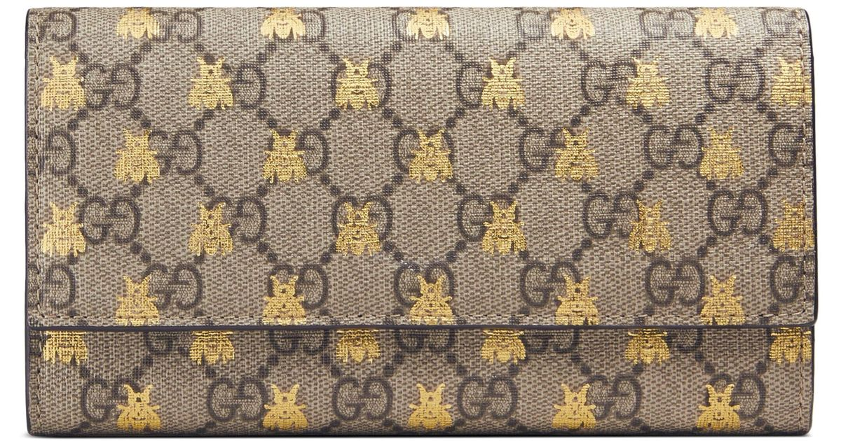 1611f63d9991 Gucci Linea Bee Gg Supreme Continental Wallet in Natural - Lyst