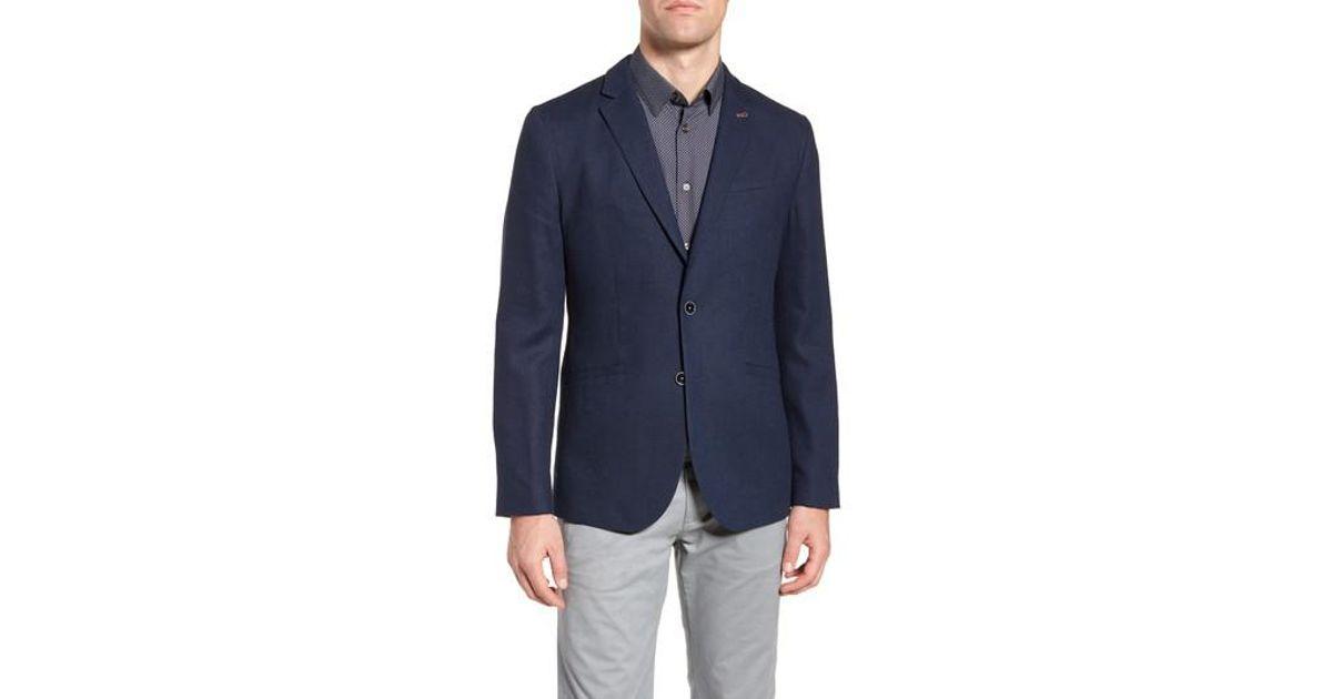 23daffcc5 Lyst - Ted Baker Hines Trim Fit Linen Blend Blazer in Blue for Men