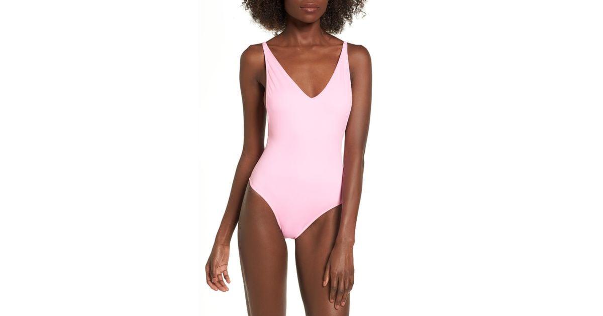 b00d8f877c561 TOPSHOP Pamela One-piece Swimsuit in Pink - Lyst
