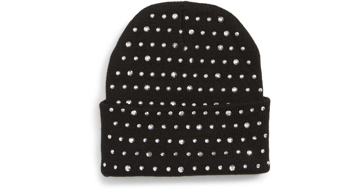 Lyst - Tasha Studded Beanie Hat in Black 64d61b54a93