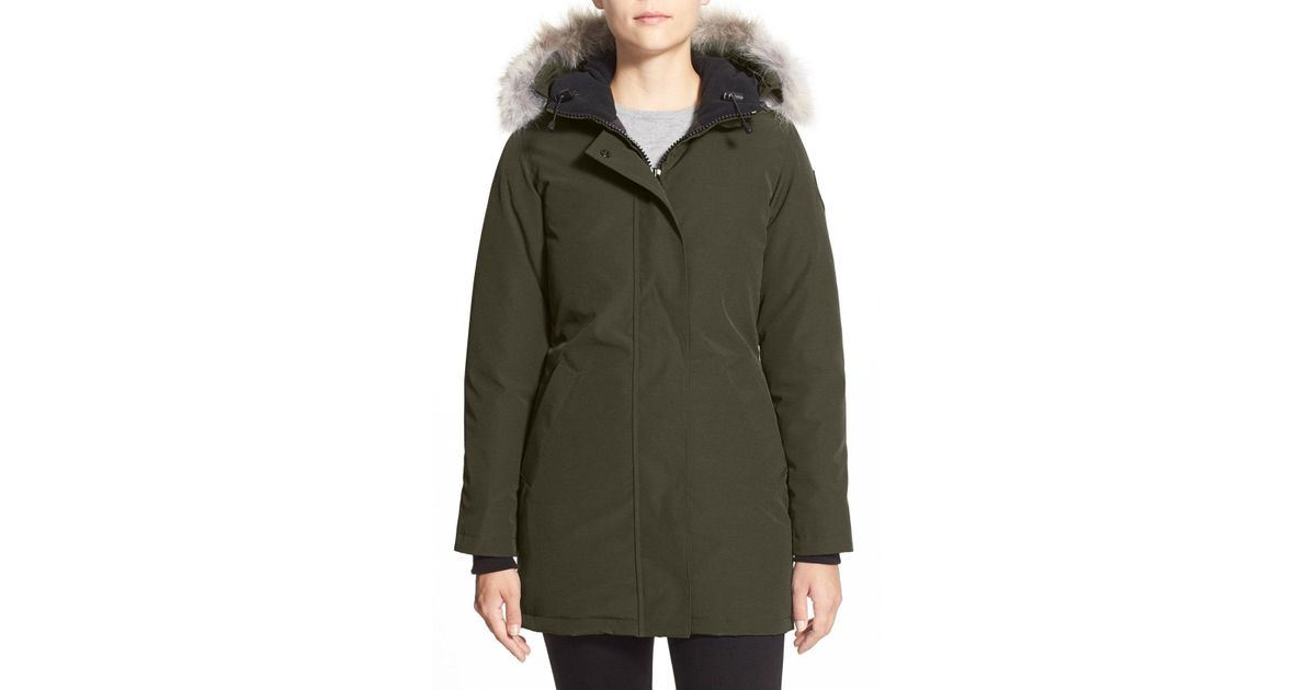 a5f46d14b726 Lyst - Canada Goose Victoria Down Parka With Genuine Coyote Fur Trim in  Green