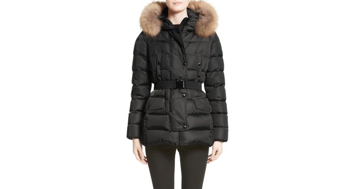 Lyst - Moncler Clio Belted Down Puffer Coat With Removable Genuine Fox Fur Trim in Black