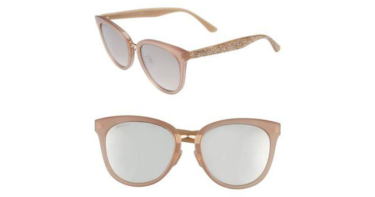 75792dea9f Lyst - Jimmy Choo Cadefs 55mm Sunglasses - Nude Glitter Nude in Natural