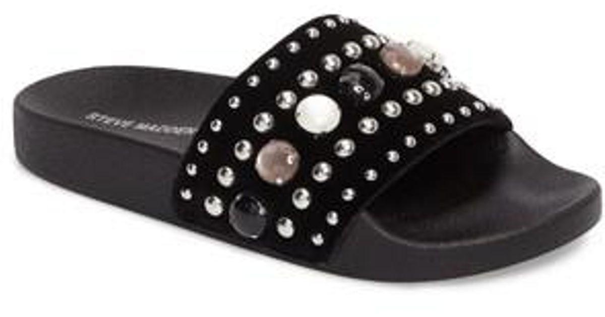 b6327c0a38b Steve Madden - Black Studded Slide Sandal - Lyst