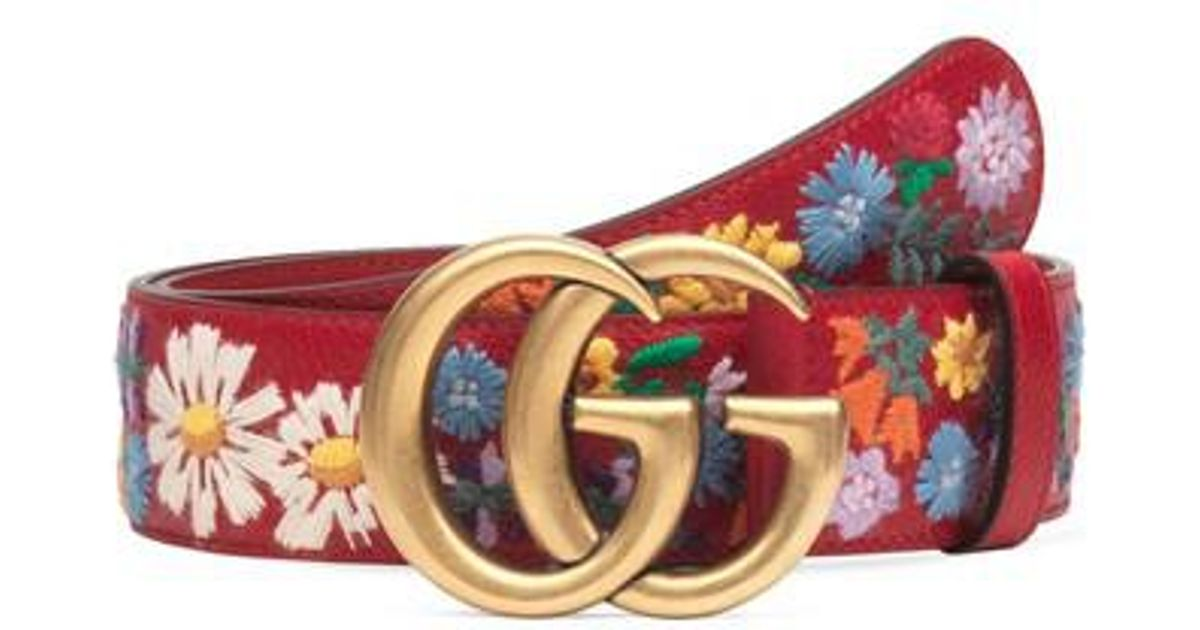 78c466237a2 Lyst - Gucci Gg Flower Embroidered Calfskin Leather Belt in Red