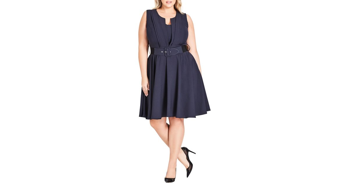 713c7a14797d Lyst - City Chic Vintage Veronica Belted Pleat Fit   Flare Dress in Gray