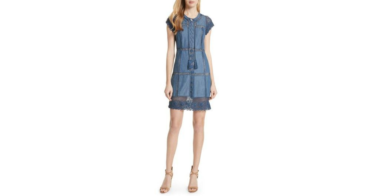 f22fccf39b Lyst - Alice + Olivia Tona Crocheted Patchwork Chambray Dress in Blue -  Save 40%
