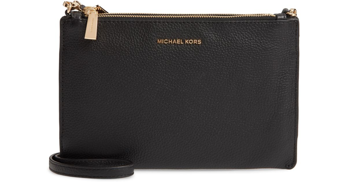 0926948ffb41bf Lyst - MICHAEL Michael Kors Leather Double Pouch Crossbody Bag in Black