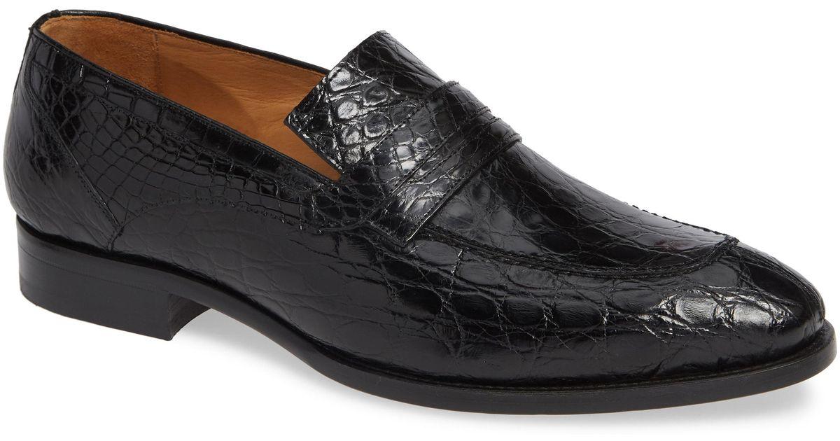 fb90677723a Lyst - Mezlan Bixby Genuine Crocodile Penny Loafer in Black for Men