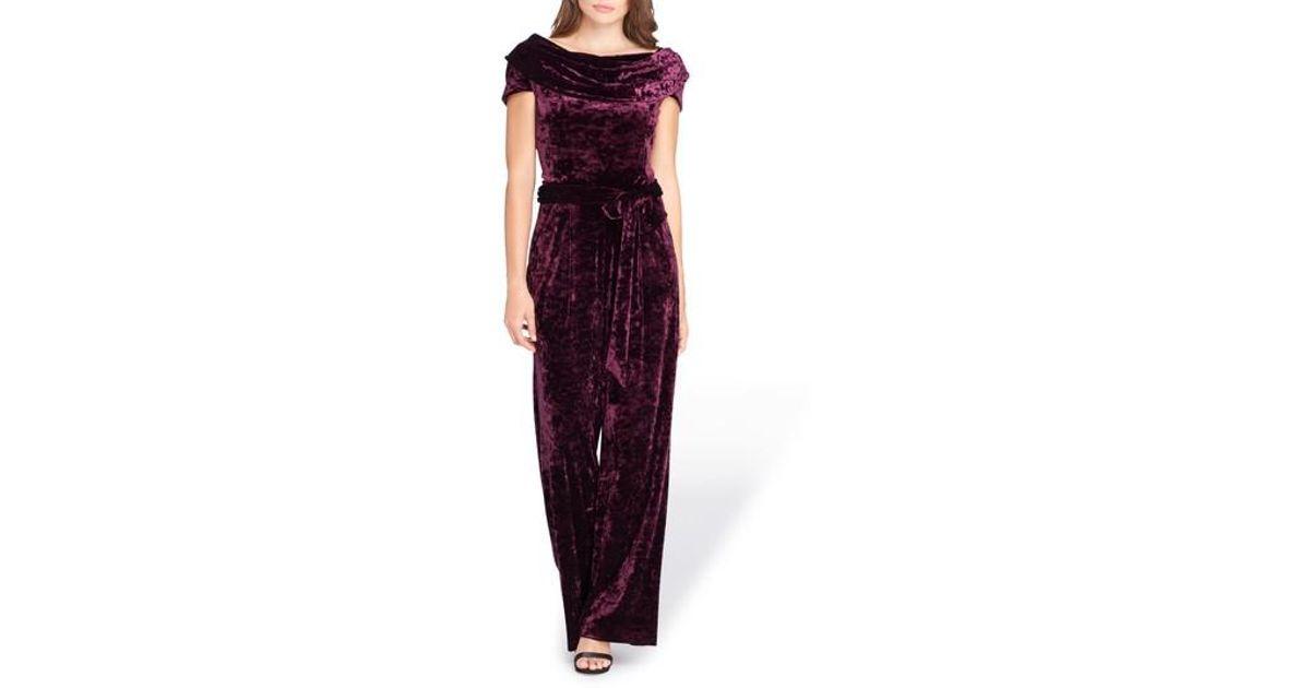 cdf67891bc4 Lyst - Tahari Crushed Velvet Jumpsuit in Purple