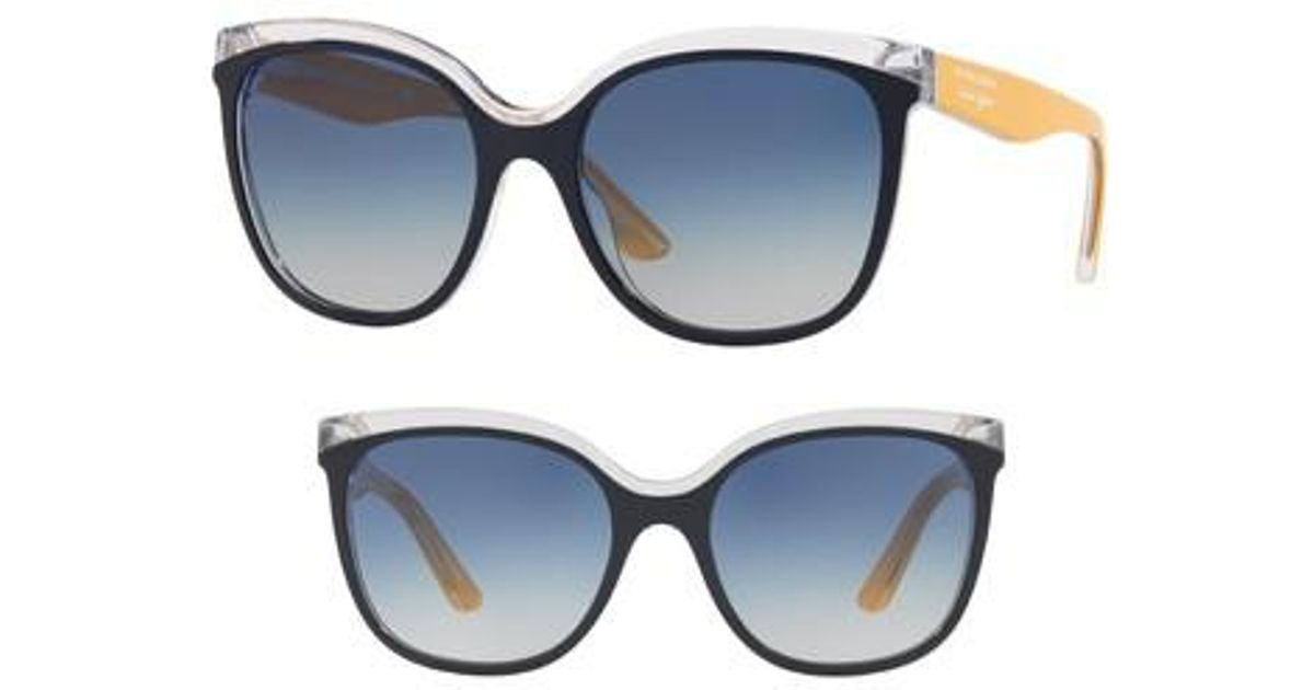 76689915c58 Lyst - Burberry Marblecheck 55mm Polarized Square Sunglasses in Blue