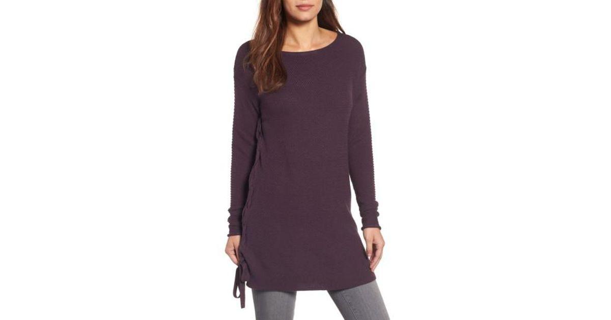 0d554ddbacf5d Lyst - Caslon Caslon Side Tie Seed Stitch Tunic Top in Purple