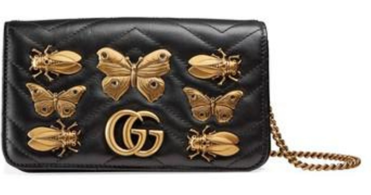 5ce0a31c9734dc Gucci Gg Marmont 2.0 Animal Stud Matelasse Leather Shoulder Bag in Black -  Lyst