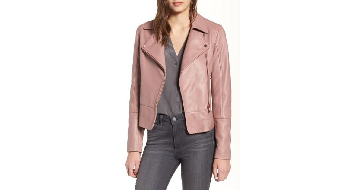 a347c295dc4c7 Lyst - Ted Baker Lizia Leather Biker Jacket in Pink