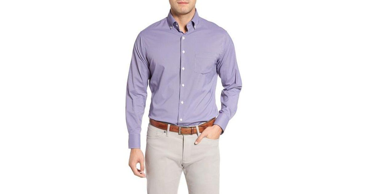 e224eb772619 Lyst - Peter Millar Parsons Check Performance Sport Shirt in Purple ...
