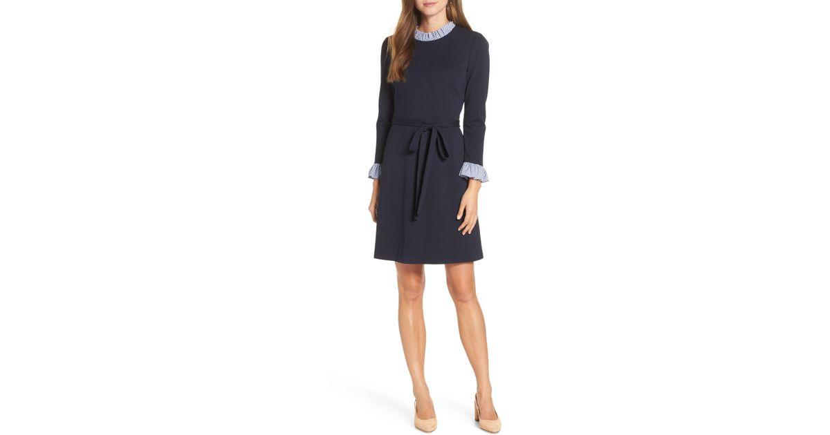 Nordstrom - Blue 1901 Long Sleeve Ruffle Detail Shirtdress - Lyst 00aa8064b