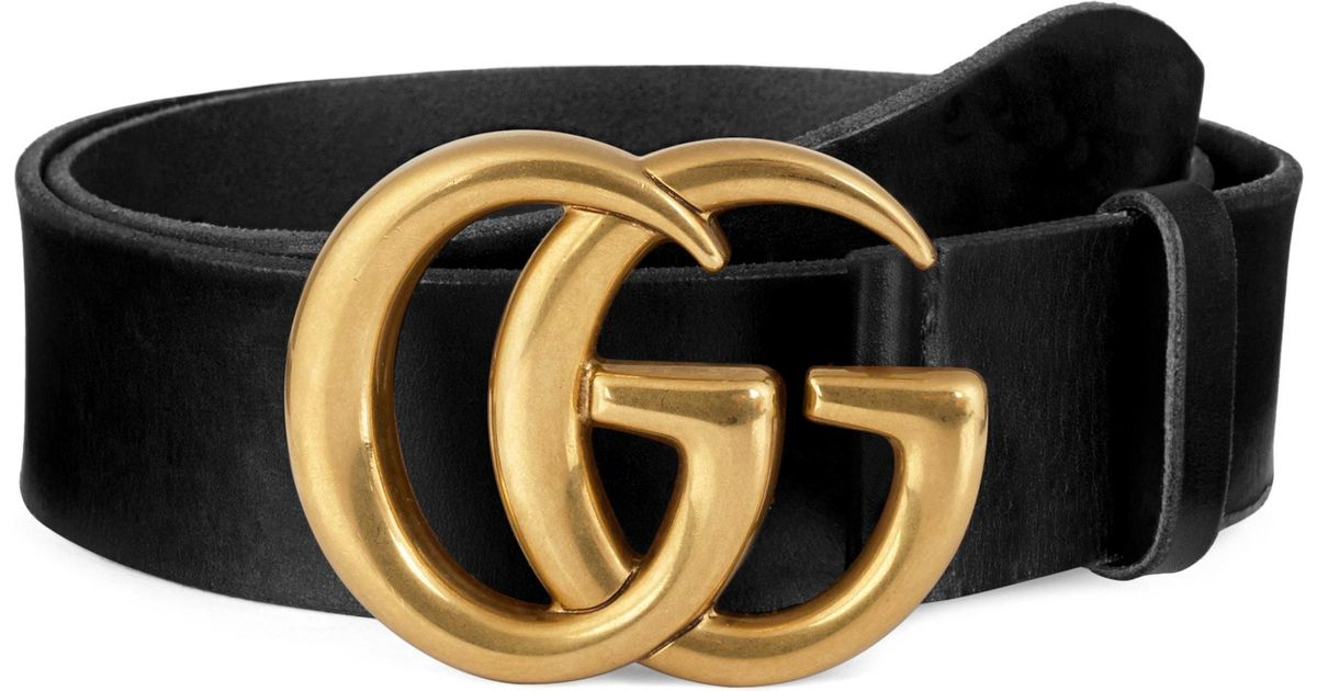 c8a19db5b71d Gucci Running Gold Leather Belt in Black for Men - Lyst