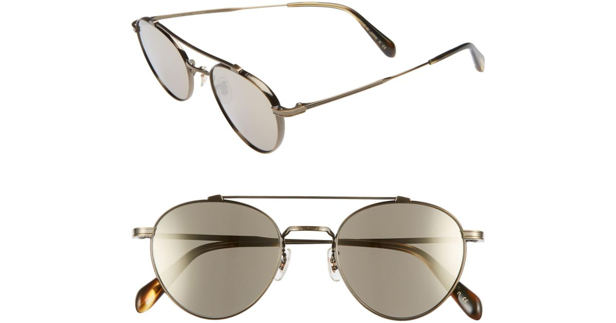 7163645daa9 Lyst - Oliver Peoples 49mm Brow Bar Aviator Sunglasses - in Metallic