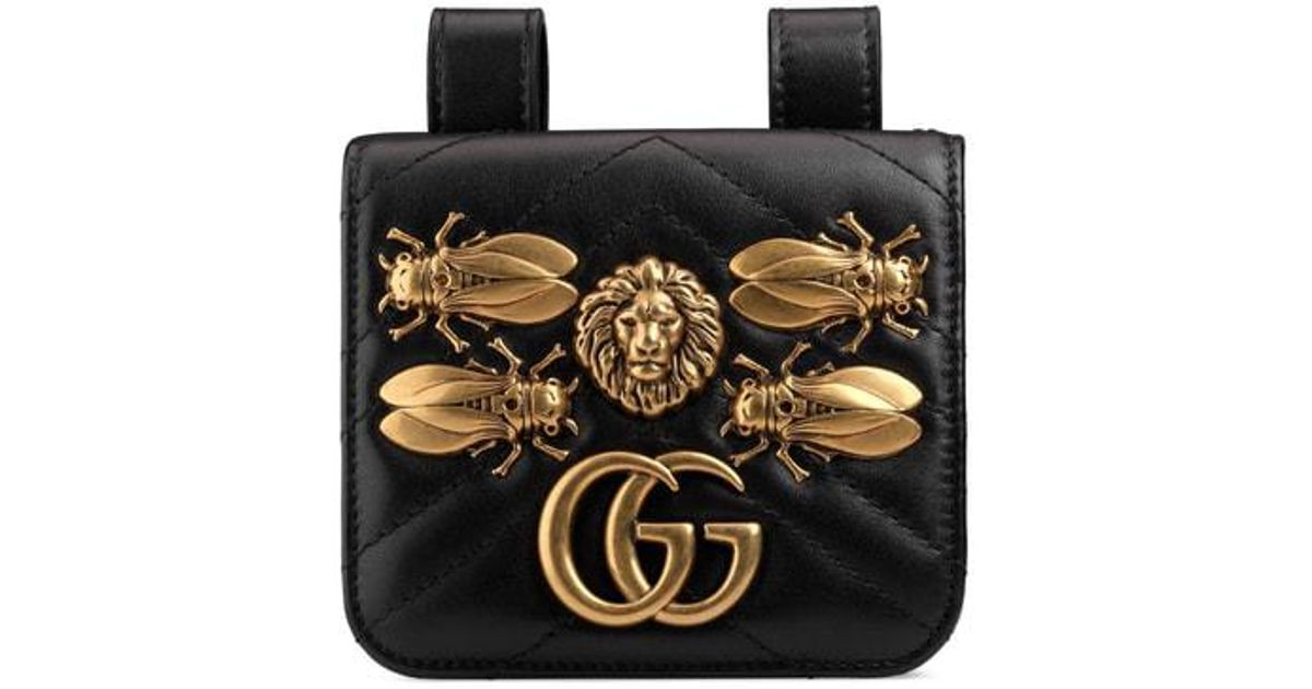 b5baf650617 Lyst - Gucci Gg Marmont 2.0 Animal Stud Matelasse Leather Pouch in Black