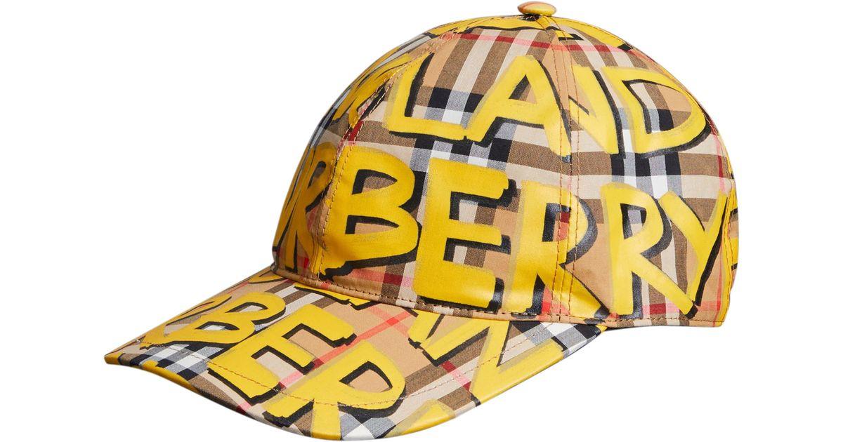 36d88f7d3d1f32 Burberry Graffiti Baseball Cap in Yellow - Lyst