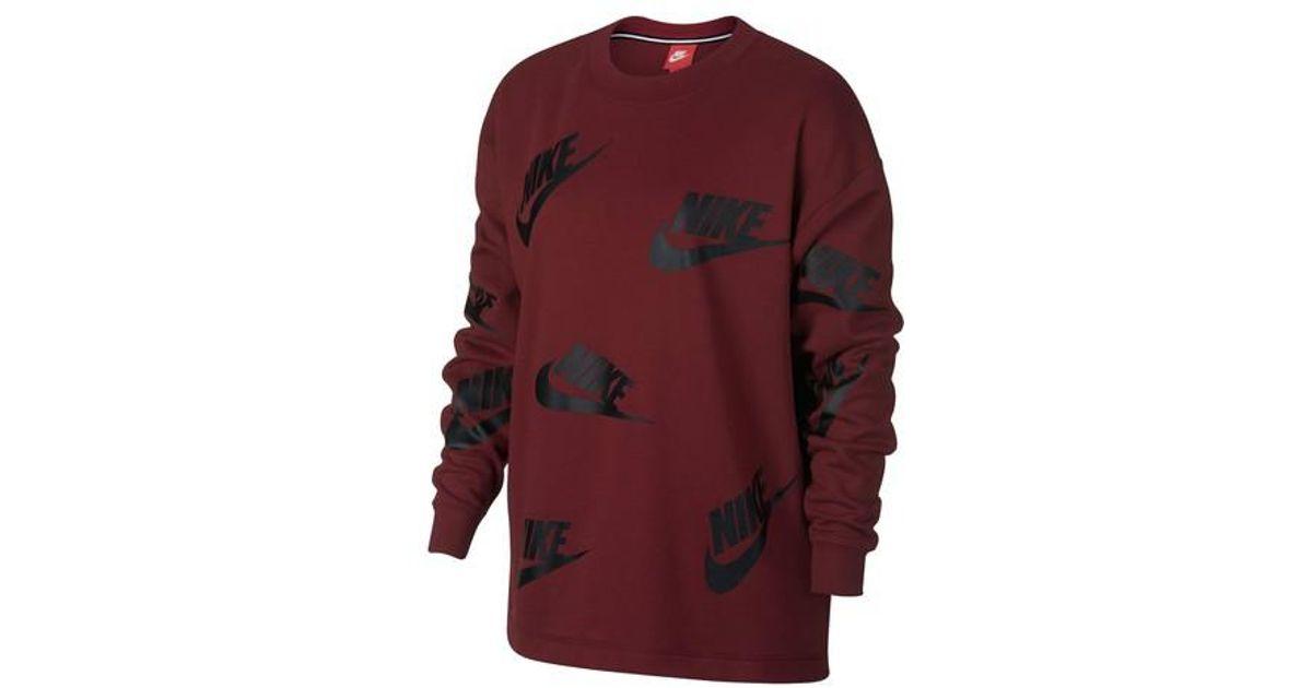 51ad3e7d65f8 Lyst - Nike Sportswear Futura Women s Crewneck Sweatshirt in Red