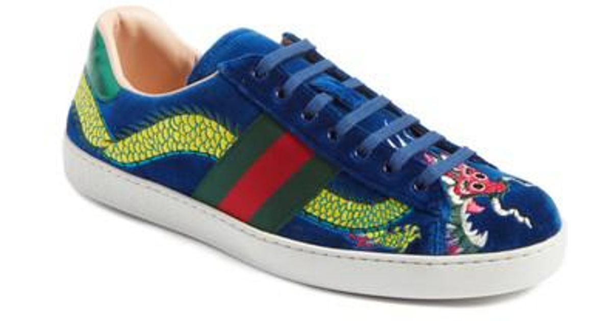 3f11bbf6fff9 Lyst - Gucci New Ace Dragon Sneaker in Blue for Men